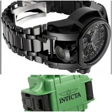 Invicta Combat Stealth Black Magnum Watch 2 Gunmetal Dials + Military Dive Case!
