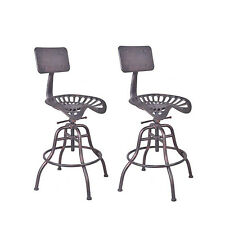 Industrial Swivel Bar Stools Tractor Seat Backrest Height Adjustable Set of 2