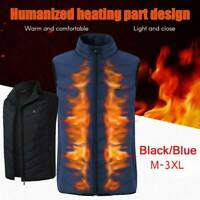 Men Women Heated Vest USB Electric Winter Outdoor Warm Heating Coat Jacket Hot !