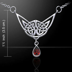 Celtic Knotwork .925 Sterling Silver Necklace Lovely Choice Gemstone Peter Stone