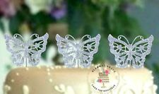 3 Silver Crystal Butterfly's each made with Rhinestones gorgeous Cake Topper