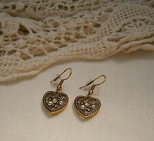 Stunning Antique Gold Tone Heart Diamante Crystal Stone Pierced Earrings New