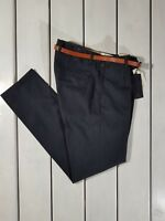 NEW SCOTCH & SODA MEN'S TROUSERS STUART SLIM FIT NAVY BLUE PANTS WITH BELT