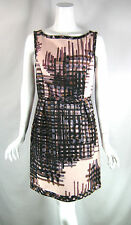 BETH BOWLEY Pink Plaid Floral Print Cocktail Dress Size 8