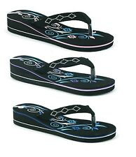 LADIES WOMENS NEW SUMMER WEDGE FLIP FLOP BEACH HOLIDAY THONG SANDALS SHOES SIZE