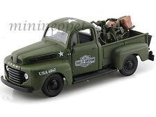 MAISTO 32185 HARLEY DAVIDSON 1948 FORD F1 PICKUP TRUCK + BIKE 1/24 US ARMY GREEN