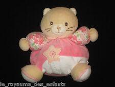 Doudou hochet grelot boule Chat beige blanc rose fleurs étoile Kaloo 18 cm