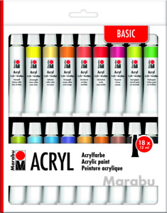 Marabu Acrylfarben Set 18 x 12 ml farbig sortiert Malfarben deckend