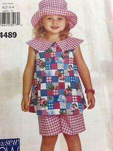 1996 Butterick See & Sew 4489 VTG Sewing Pattern Child Top Shorts Hat Size 2 3 4