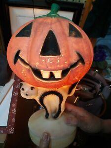 "Vtg Halloween Plastic Blow Mold Jack-o-Lantern Pumpkin w Black Cat 14"" *AS IS*"