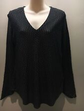 Witchery Black White Stars Long Sleeve Bell Cuff V-Neck Top Size XS Fit 10 12