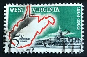# 1232 -5 cent West Virginia Statehood, COLOR SHIFT ERROR (Collectible Stamp)