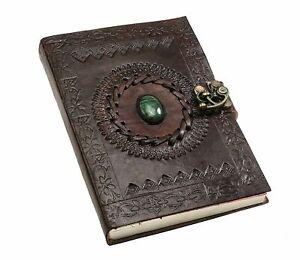 Vintage Leather Journal Handmade Memoir Notepad Green Stone Embossed With Lock