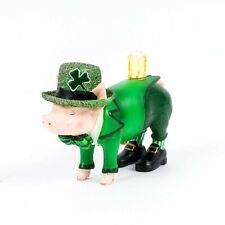 St. Patrick's Day Leprechaun Pig with Beer Figurine
