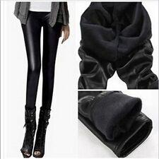 Women Ladies Trousers Winter Warm Velvet Skinny PU Pants Leather Boot Leggings