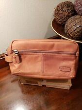 RARE Dorado Brown Leather Toiletry Travel Bag Men shaving razor soap bathroom