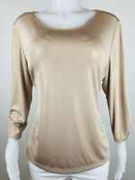 Chicos Women Size 3 Or XL Golden 3/4 Sleeves Blouse Top Shirt