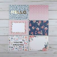 Greeting Note Cards Hello Floral Pink Blue 6 Count Blank Inside