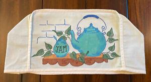 Vintage toaster cover Hand Painted Teal blue Cotton Farmhouse piece Jam Teapot