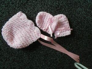 NEWBORN   BABY GIRL SPARKLE PINK   HAND CROCHET BONNET  & MITTS