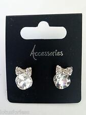 Beautiful Diamante Crystal Bow Stud Drop Earrings Gold Tone UK Seller