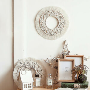 Wall Hanging Mirror Macrame Round Tapestry Boho Decor for Home Living Room
