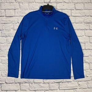 Under Armour Loose Fit Heat Gear 1/4 Zip Shirt Men's L Long Sleeve Blue Logo