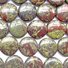Dragon Blood Jasper Quartz 20mm Round Coin Semi Precious Stone Beads Q1 Strand