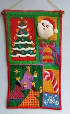 Christmas needlepoint tapestry 1970s Bucilla finished wall hanging