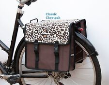 Bicycle Double Pannier Bag Ladies Men Fashion Water Resistant Rear Brown New