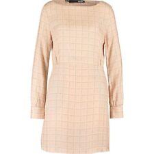 Genuine LOVE MOSCHINO Nude Sheath Brand Printed Dress - size UK 14 / IT 46