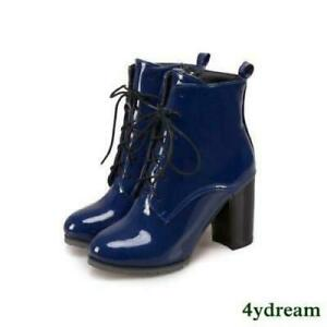 Women's Block High Heel Lace Up Zip Patent PU Leather Fur Lined Ankle Boots
