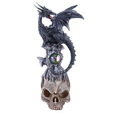 Dark Stone Mystic Dragon Perched On Skull Head Crystal Rhinestone Rock Statue