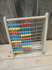 Vintage Wooden Abacus Children's Learning Counting Toy Wooden Beads H1