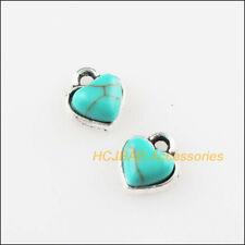 16 New Tiny Heart Charms Turquoise Tibetan Silver Pendants Retro 7x8mm