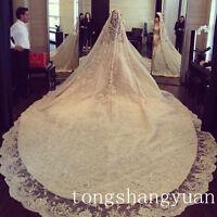 Custom Luxury Crystals Bridal Veils 1 T 4 M Ivory White Wedding Veil With Comb