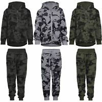 Boys Teens Camouflage Print Tracksuit Kids Hooded Top Jogging Bottoms 3-14 Years