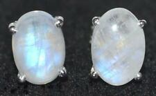 Sterling Silver Rainbow Moonstone stud Earrings Rhodium plated,Natural Gemstone