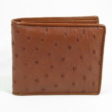 New Tan Beige Genuine Ostrich Leather Skin Mens Bi-fold Wallet Free shipping.