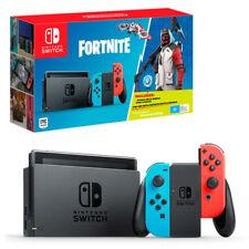 Nintendo Switch Neon Joy-Con Console with Fortnite Bonus DLC NEW