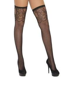 Fishnet Thigh Highs Scroll Design Top Floral Pattern Hosiery Stockings 1814