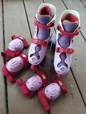 Dora The Explorer Adjustable Quad Roller Skates with Knee, Elbow Pads .Size 1-4.