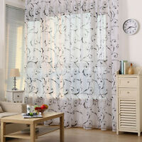 Sweet Floral Drape Window Curtain Door Panel Sheers  Tulle Voile Scarf Valances