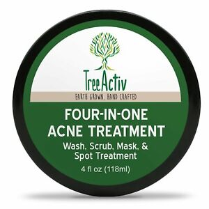 TreeActiv Acne Treatment 4 in 1 Wash Scrub Spot Removal Face Body Natural Sulfur
