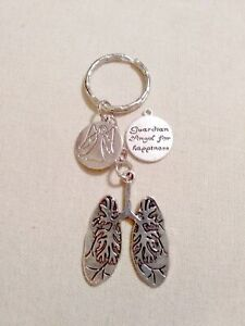 Lungs Keyring with the Guardian Angel Charm