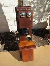 Antique Vintage Old Stromberg - Carlson Walnut Wood Double Box Wall Crank Phone
