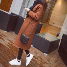 Women's Lapel Wool Cashmere Coat Trench Jacket Long Parka Overcoat Outwear Hot