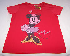 Disney Minnie Mouse Ladies Red Printed Short Sleeve T Shirt Size M New