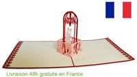 Carte de mariage-carte pop up 3D voeux amour