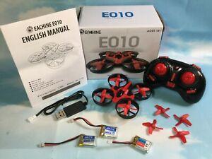 New Eachine E010 Mini Quadcopter Drone Headless Mode RTF 3 Batteries Red/Black